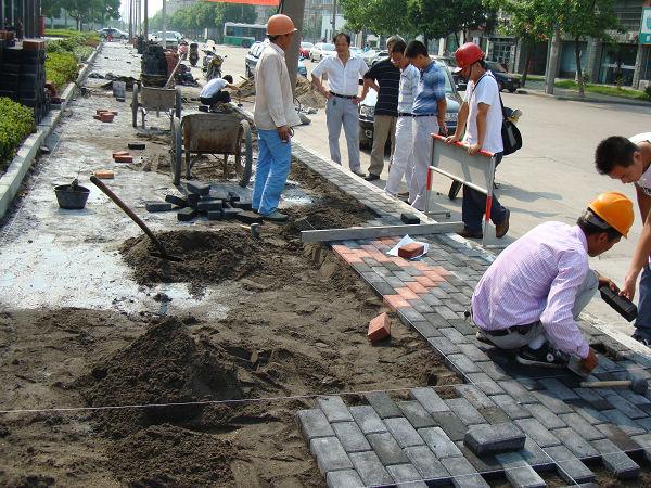 新建路人行道改造工程开始铺砌便道砖